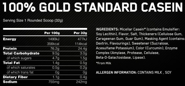 Состав-Casein-Gold-Standard-Optimum-Nutrition